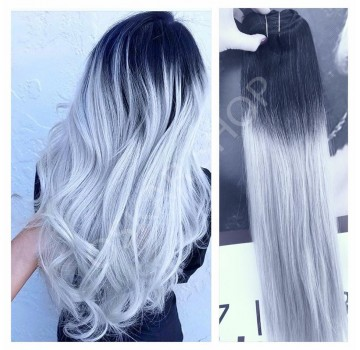 Extensii Clip-On Deluxe Ombre #1b Silver
